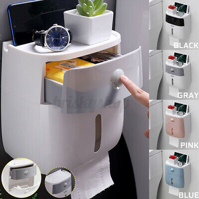 Wall Mounted Toilet Paper Holder Roll Tissue Double-layer Storage Box Waterproof • 13.39£