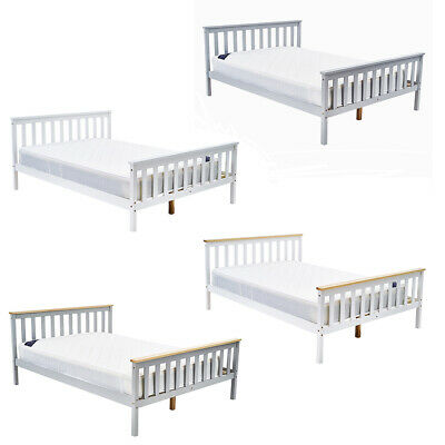 4FT6 Double Solid Wood Bed Frame Bedroom Beds With Mattress Optional In White UK • 73.99£