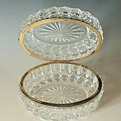 Vintage Large Baccarat Style Cut Glass Oval Lidded Casket Jewellery Box • 59.95£