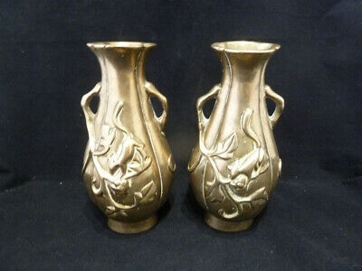 2 Antique Chinese Brass / Bronze Vases   Squirrels   Qing Dynasty 19thC • 280£