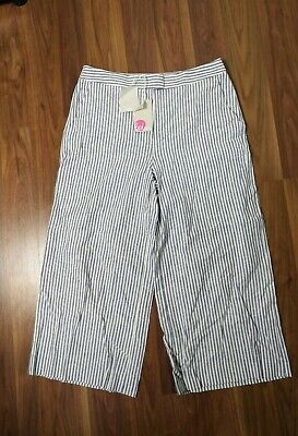 New Boden Womens Ladies Linen Trousers Size 12 R Striped Pants   R  • 12.99£