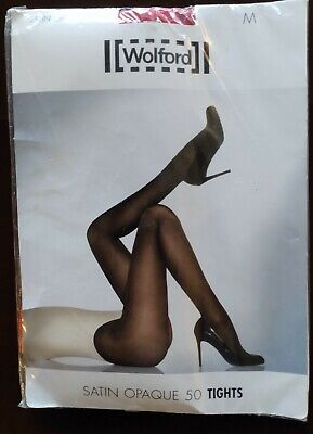 NEW Wolford Red Satin Opaque 50 Tights Size M • 6.50£