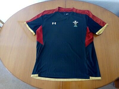 Wales Rugby Training Shirt Size XL Under Armour Black • 19.99£