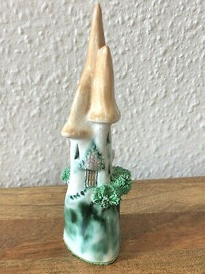 Vintage Ceramic Fairytale Castle Ornament Pretty Glazed Christmas Snowy Winter • 6£