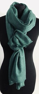 Womens Pure Cashmere Shawl FOREST GREEN By Vishana • 35£