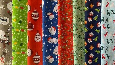 Fabric Bundle. 8 Polycotton Large Christmas Remnants. Red/grey/green/blue • 2.20£