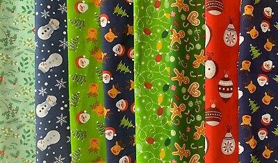 Fabric Bundle. 8 Polycotton Large Christmas Remnants. Red/grey/green/blue • 3£