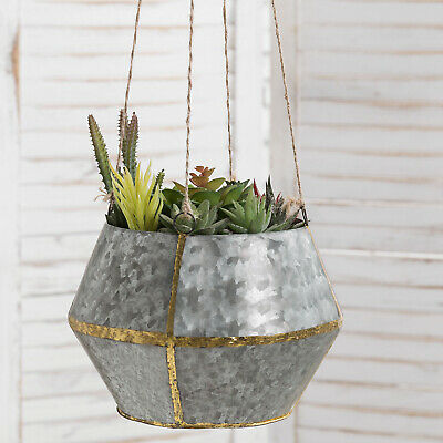 MyGift Silver Galvanized Metal And Brass Tone Hanging Planter With Twine Rope • 20.08£
