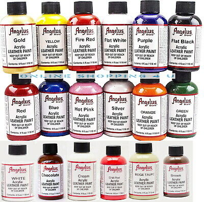 Angelus Acrylic Leather Paint For Sneakers Shoes Bags Trainers Boots Design 4oz • 11.35£