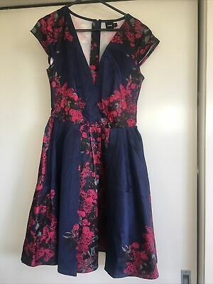 AU2 • Buy Asos Fit And Flare Uk 8 Deep V Dark Blue Pink Floral Dress