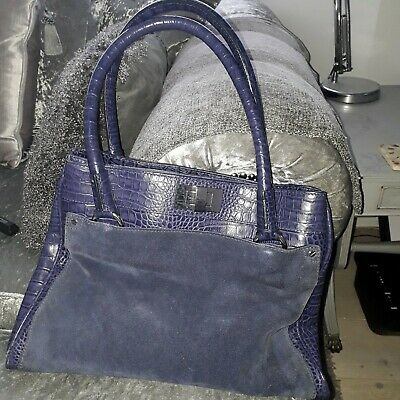 M&S Autograph Purple Leather Moc Croc/Suede Bag • 11£