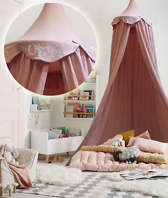 Personalised Pink Kids BED CANOPY Bedcover Mosquito Net Bedding Teepee Tent Baby • 24.99£