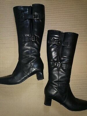 Black Leather Pavers Knee Boots Size 5 Buckles And Straps • 9.99£