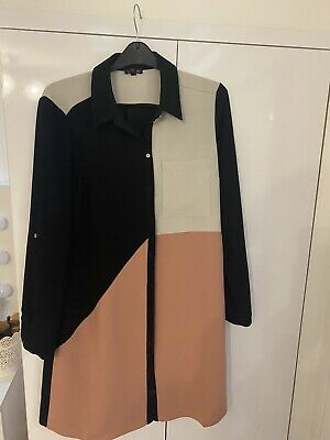 Black And Pink Button Up Shirt Dress Size 8 River Island • 1.70£
