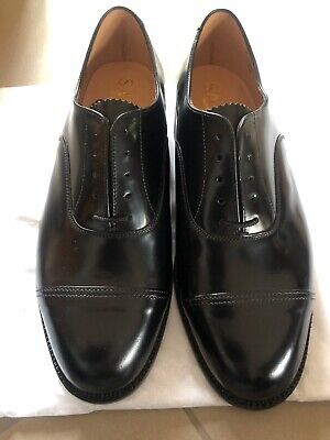 Sanders Officers Leather Shoes, Uk-made, Black Size 8 • 100£