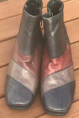 Womens Pavers Size 7 Leather Zip Up Ankle Boot, Multi Coloured • 3.40£