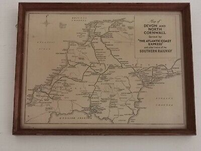 SR Map Devon N. Cornwall Southern Railway Atlantic Coast Express Carriage Print • 10.50£