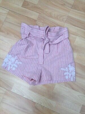 Brand New Ex Topshop Pink White Cotton High Rise Belted Culottes Shorts 8-10 38 • 6.99£
