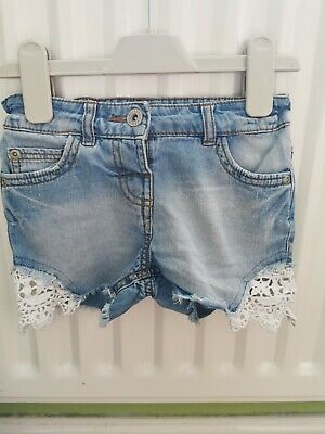 Bluezoo Debenhams Girls Denim Shorts With Lace Detail Ages 5 Years • 0.99£
