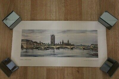 Original BR Railway Carriage Print Poster - London Lambeth Bridge • 15£