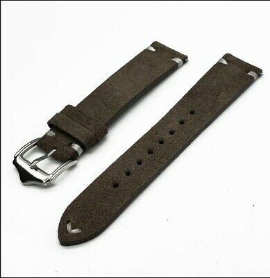 Genuine Leather Quick Release Watch Strap 20mm Shark Grey • 7£