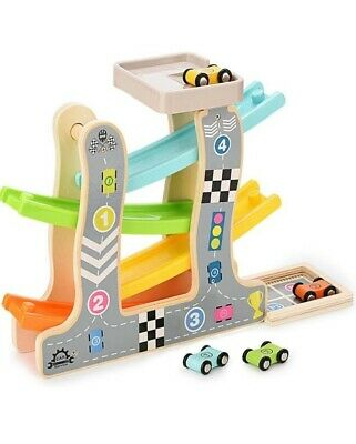STOTOY Wooden Race Track, First Birthday Present For 1 2 Year Old Baby And Toddl • 16.99£