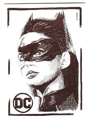 $ CDN14.03 • Buy ACEO Art Sketch Card DC Anne Hathaway As Catwoman From Movie Ink Drawing B