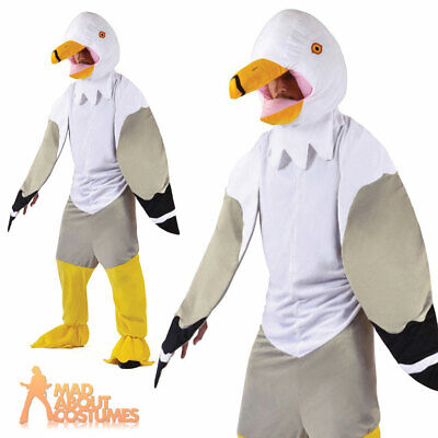 £35.65 • Buy Adult Big Head Seagull Costume Mens Funny Animal Bird Fancy Dress Outfit