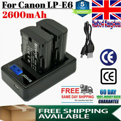 2X Rechargeable Li-ion LP-E6 Battery + Dual Charger For Canon EOS 60D 5D Mark UK • 17.49£