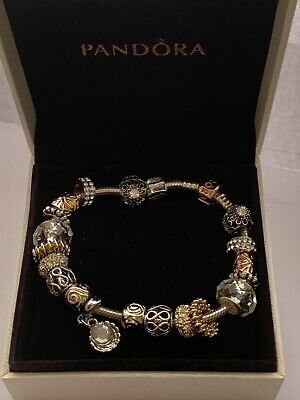 Genuine Silver Pandora Charm Bracelet 21cm Rose Gold With Charms In Box .  #B/10 • 64.99£