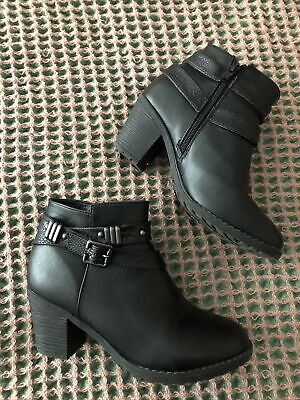 Womens Boots Size 5 Black Leather Look Ankle Boots With Buckles Pavers • 3.50£