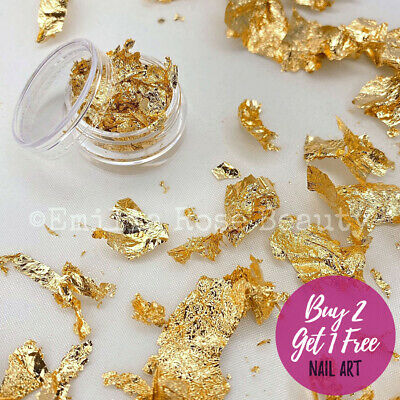 Nail Art Glitter Gold Autumn Metallic Foil Leaves Metal Leaf Shape Flakes • 2.49£