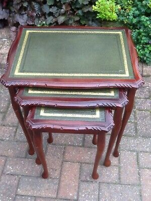Vintage Style Mahogany Nest Of Tables With Glass Tops • 40£