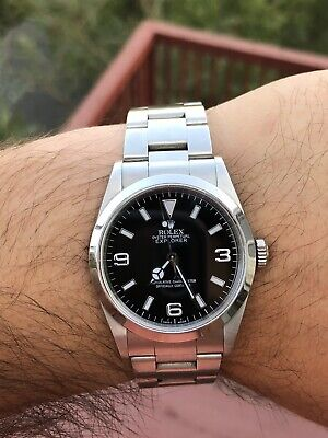 $ CDN9118.01 • Buy @@@ Rolex Oyster Perpetual Explorer 1 Black Dial Watch 14270 Papers A Serial @@@