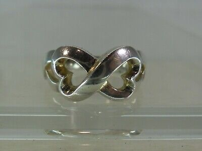 Tiffany & Co Paloma Picasso Intertwined Hearts Sterling Solid Silver Ring • 80£