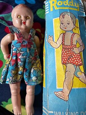 Vintage Boxed 1940/50s 6.5  Hard Plastic Roddy Walking Doll With Original Outfit • 28£