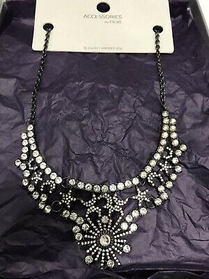 BNWT Stunning Next Jewellery Statement Necklace Clear Stones On Black Metal • 12.99£