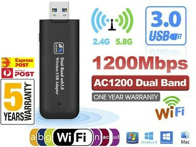 AU15.98 • Buy NEW 1200Mbps USB 3 Wireless WiFi Network Receiver Adapter 5GHz Dual Band Dongle