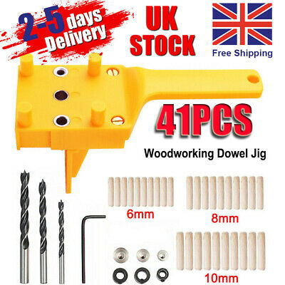 Handheld Woodworking Guide Wood Dowel Drilling Hole Saw Doweling Jig Drill Kits • 8.59£