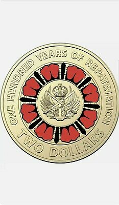 AU5.50 • Buy UNC 2019 Australian Repatriation $2 Two Dollar Red Coloured Coin From Mint Bag.