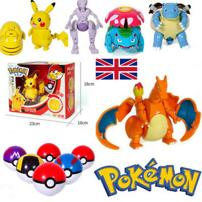 Pokeball Ball Transformation Action Pikachu Figure Deformation Model Xmas Toy UK • 2.99£