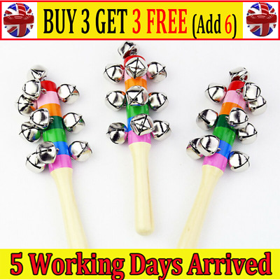 Baby Kids Rainbow Wooden Handle Bell Jingle Stick Shaker Rattle Toys AT • 3.85£