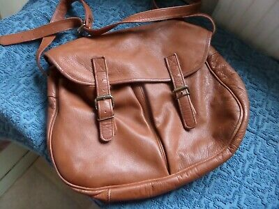 Women's Large Tan Real Leather Shoulder Bag With Pockets Salisburys Spacious • 6.25£