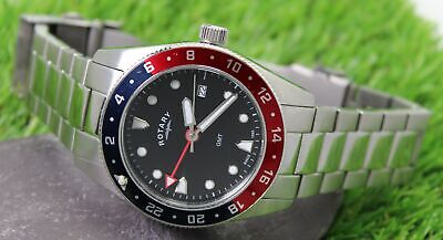ROTARY GMT Men's Stainless Steel Quartz Watch GB00680/04 • 35£