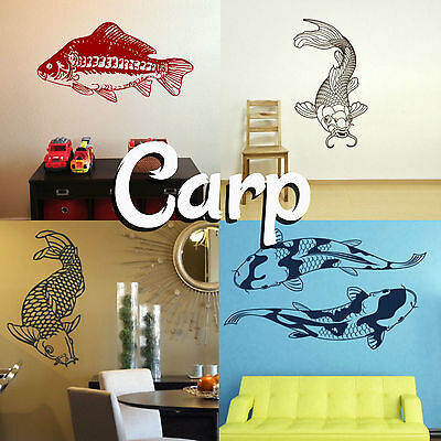 Carp Wall Sticker! Home Transfer Fish Graphic Koi Decals Decor Stencil Pond Boys • 20.60£