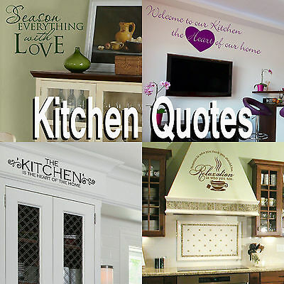 Kitchen Quote Wall Stickers! Transfer Graphic Decal Decor Stencils Dining Room • 10.89£