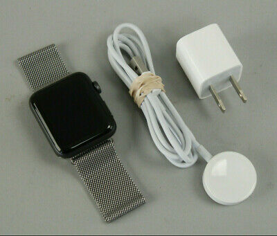$ CDN197.36 • Buy Apple Watch Series 3 42mm Gray Aluminium W/Silver Milanse Loop Band & Charger