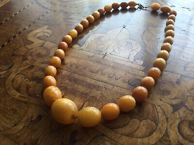Antique Victorian Genuine Natural Butterscotch Amber Beads Necklace • 625£