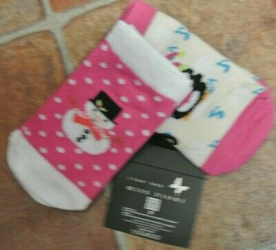 New Baby Girls 2pr Slip On Christmas Penguin/snowman Socks  Size 12-24 Months • 2.49£