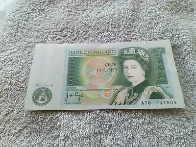 Bank Of England One Pound Note Signed J B Page - A70 • 2.89£